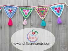 by chileanhands on Etsy Crochet Bunting Pattern, Crochet Garland, Crochet Mandala Pattern, Crochet Decoration, Crochet Quilt, Crochet Home Decor, Crochet Squares, Crochet Doilies, Knit Crochet