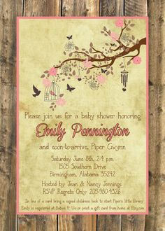 Rustic and Vintage Inspired Baby Girl Baby Shower Invitation PDF from Elle-o-font
