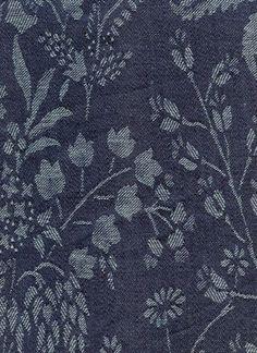 one of my favorite Kathryn Ireland fabrics . . . a Floral Jacquard in Indigo . . .