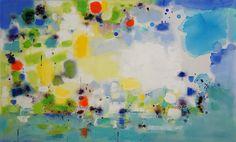 """Island 2"", mixed media on canvas, 27"" x 44"" x 1.8"", Changsoon Oh"