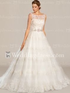 Vintage Tulle Lace Wedding Dress with Sheered High Neckline DE324N