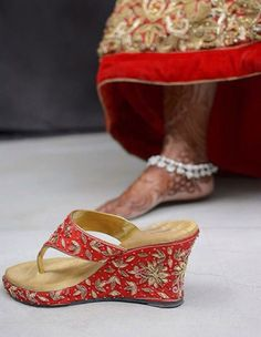 New indian bridal shoes wedges Ideas Red Bridal Shoes, Bridal Shoes Wedges, Wedding Wedges, Bridal Wedding Shoes, Bridal Sandals, Womens Shoes Wedges, Platform Wedges Shoes, Wedge Shoes, Flats