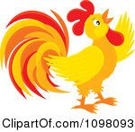 Clipart Crowing Orange And Red Rooster Royalty Free Vector Illustration by Alex Bannykh