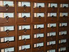 """""""Card Catalog, Bowdoin College Library by smiling-gardener."""" I like the 2-part labels. My card catalog doesn't have these, but I could see them being useful."""