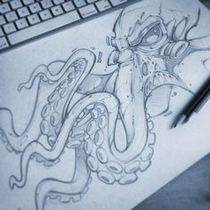 Sketch of last night for a project on this weekend … – Graffiti World Octopus Drawing, Octopus Art, Octopus Sketch, Octopus Design, Octopus Illustration, Cool Drawings, Drawing Sketches, Tattoo Drawings, Graffiti Art