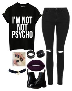 """""""She's beautiful, she'll also punch you in the face."""" by jayceepanda on Polyvore featuring Topshop, NOVICA, Lime Crime and Dr. Martens"""