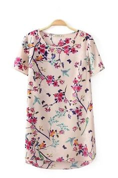 Pink O-neck Short Sleeves Floral Printed T-shirt