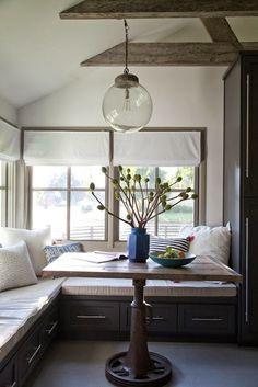 *idee* hoekbank in de keuken *handig* opbergruimte
