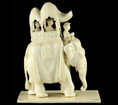 Finely Carved Antique Indian Ivory Elephant With Howdah C. Elephant India, Ivory Elephant, Indian Elephant, Elephant Love, Elephant Art, Elephants Never Forget, Winter Moon, Vintage India, Mughal Empire
