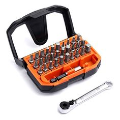 """Tacklife 32pcs 1/4"""" Ratchet Screwdriver Bit Set, Extension Bit Holder and Socket Adapter Included, High Torque 72-Tooth Gearhead, 30 Multi Bits for Ratchet Wrench, Screwdriver or Drill, HBWS1A - At Tacklife, we aim to manufacture the best products that inspire our consumers to live a more convenient, secure lifestyle. We have our professional products monitoring team to focus on every single detail that matters to you and develop well-made, portable, exquisite products.Key Features: ..."""
