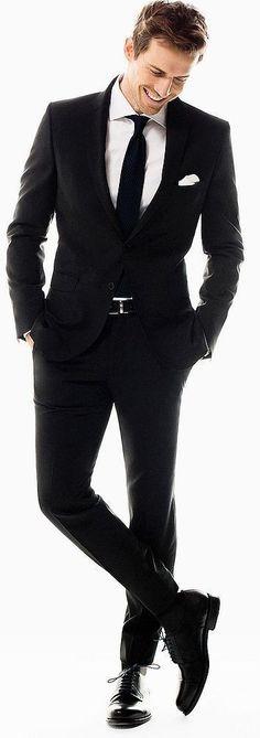 Custom Made New Black Men's Groom Suit Tuxedos Formal Groomsmen Wedding Suits Black Suit Black Shirt, Black Suits, Black Men, Mens Black Wedding Suits, Black Suit Groom, Mens Groom Suit, Mens Suits, Mode Masculine, Moda Formal