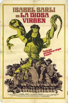 """Isabel Sarli in La diosa virgen, ( The Virgin Goddess ). A pretty spiffy movie regardless of """"sex"""" and social labeling and with far more of a plot and story than your average """"soft-core"""" flick and far more than most of the contemporary feature films of the period. Written and Directed by Dirk de Villiers, staring the true living goddess Isabel Sarli in the title role. The 1973 so deemed """"sexploitation film"""" is very much worth your time."""