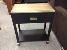 Modern Side Table - Lots of possible uses. Side table or entrance way table.   Interesting metallic painted top.   Item 708-14.   Price $100.00   - http://takeitorleaveit.co/2014/12/12/modern-side-table/