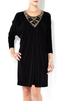baa05ca32c Black Drape Necklace Dress Embellishments