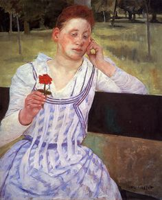Reverie (also known as Woman with a Red Zinnia),  Mary Cassatt - 1892