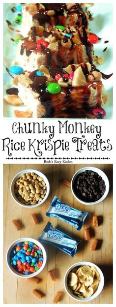 Chunky Monkey Rice Krispie Treats - Chunky Monkey Rice Krispie Treats - Dress up your favorite krispie treat with caramel, peanuts, M&Ms, banana chips, and chocolate, for an out of this world fun treat that is the perfect afternoon pick-me-up! #KreateMyHappy #ad