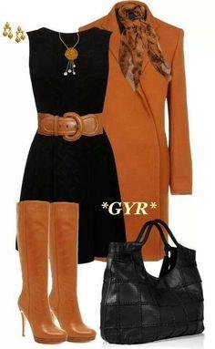 Combinación con vestido negro basico