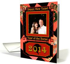 2014 Chinese New Year, Year of the Horse, Money Envelopes Photo Card by Cherie