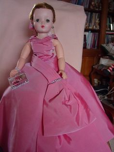 MADAME ALEXANDER VINTAGE, USED, HARD PLASTIC CISSY DOLL IN CORAL PINK GOWN!