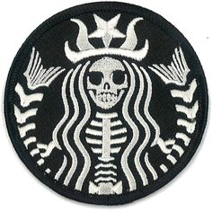 Starbucks Coffee Dead Barista Embroidered Patch ZOMBIE Skeleton Skull Horror Dia De Los Muertos Badge Applique (13 CAD) found on Polyvore featuring home, kitchen & dining, fillers, patches and + fillers