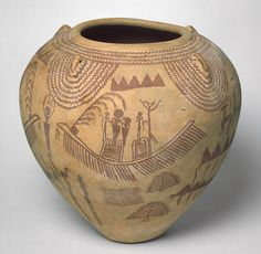 Vessel, Predynastic Period, Naqada II, ca. 3450–3300 B.C. Egyptian Painted pottery