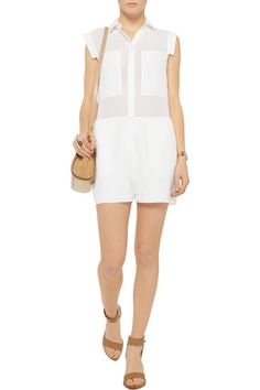 T by Alexander WangSilk-chiffon and crepe de chine playsuitfront