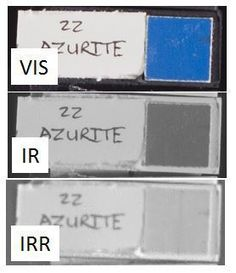 Azurite seen through a digital full spectrum camera (IR) and an InGaAs camera (IRR). The latter increases transparency of the pigment (a vertical underdrawing line becomes visible).