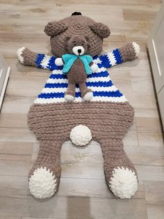 "Soft plush rug - pillow ""Bear Seaman"" and Bear for children. Сrochet mat in the nursery. For gift on Baby Shower, Birthday Set rug toy Soft plush rug pillow Bear Seaman Sheep Rug, Bear Rug, Nursery Area Rug, Animal Rug, Knit Rug, Fluffy Rug, Plush Carpet, Baby Pillows, Newborn Photo Props"