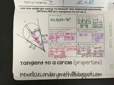 FREE Tangent lines to a circle properties foldable with graphic organizer