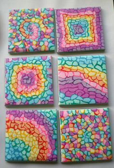 https://flic.kr/p/aD1Byq | Set of 6 square Coasters - Mosaic |  Nice pastel colors by Fimo - sold