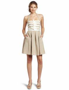 Jessica Simpson Women's Halter Dress with Grosgrain Trim, Dune, 4  $148.00