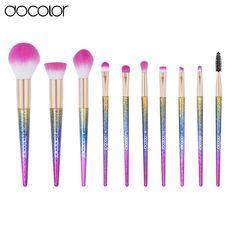 Docolor 10PCS  makeup brush set Fantasy Set Professional high quality brushes  Foundation Powder Eyeshadow Kits  Gradient color