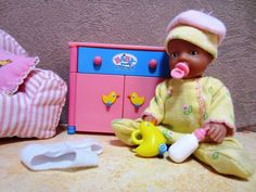 Mini baby born doll, 2 outfits, some doll house furniture, ZAPF Germany #DollswithClothingAccessories