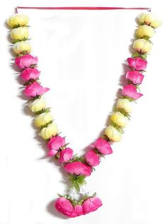 Pink and Light Yellow Rose Garland (Silk Cloth) Flower Garland Wedding, Rose Garland, Flower Garlands, Bridal Flowers, Floral Garland, Wedding Stage Decorations, Flower Decorations, Marriage Decoration, Yellow Roses