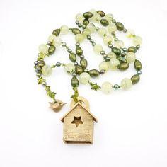 Birdhouse, Pearls and Prehnite Necklace via Etsy