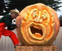 Farmer Mike carving the Great Pumpkin!