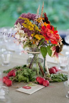 diy centerpieces- wild flowers, mason jars accented with yarn, ribbon, or rafia, and veggies at the base. Wildflower Centerpieces, Mason Jar Centerpieces, Floral Centerpieces, Wedding Centerpieces, Flower Arrangements, Table Arrangements, Centerpiece Ideas, Floral Arrangement, Vases