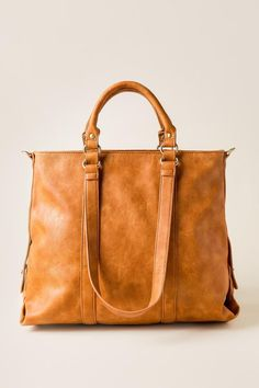 Marnie Distressed Tote- Camel cognc-clfront