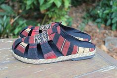 Naga Tribal Mens Shoes in Ethnic Textiles by SiameseDreamDesign, #Mens #fashion #Shoes #Naga #Vegan
