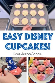 These Disney cupcakes will bring any Disney party to the next level. Check out designs for both Minnie Mouse and Sorcerer Mickey! Baking Cupcakes, Cupcake Recipes, Cupcake Cakes, Dessert Recipes, Cupcake Ideas, Cup Cakes, Dessert Ideas, Fun Desserts, Disney Tips