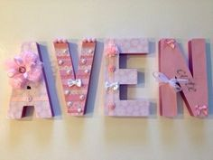 Custom made hand decorated letters in baby pinks and white