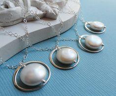 Bridesmaid Necklaces  Three Pearl Solitaire by BriguysGirls, $75.50
