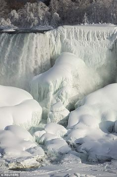 Frozen Niagara Falls..Feb. 2015...Meanwhile, the effects of this weekend's winter weather are still being felt by the 330,000 people without power in Georgia, North Carolina, South Carolina and Tennessee