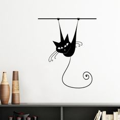 Climb Rail Black Cat Halloween Animal Art Silhouette Silhouette Removable Wall Sticker Art Decals Mural DIY Wallpaper for Room Decal Diy Wallpaper, Removable Wall Stickers, Wall Decor, Wall Art, Funky Furniture, Neko, Outline, Decals, Silhouette