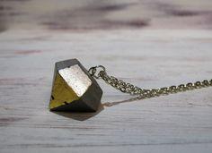Kette+Beton+Diamant+silber+gold+von+CharLen+auf+DaWanda.com