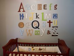 Wooden Alphabet Letters Set, Wall Hanging, Nursery Decor, Alphabet Wall, ABC Wall, Mixed, Unfinished letters, Unpainted- DISCOUNTED PRICE. $85.00, via Etsy.