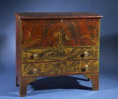 Maine, circa 1830, pine decorated blanket chest
