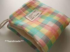 ハンドメイド ループ付ガーゼタオル カラフルチェック 1 入園 Handmade towels ¥600yen 〆04月12日