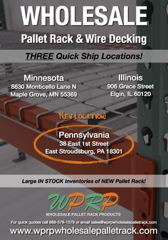 #MaterialHandling WPRP has Three Convenient Quick Ship Locations to serve you - including our new warehouse in East Stroudsburg, PA! www.wprpwholesalepalletrack.com