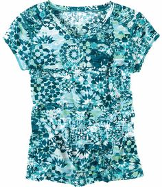 Title Nine: Print Double Time Tee - No ordinary tee, but a tee that works and plays in double time. V-neck styling combines with our Matahari™ fabric, a subtle slubbed poly/spandex knit infused with StinkStopper™ anti-odor to make a tee that works with a skirt, even when we sweat. Ruching at collarbone. UPF 35. Only @ T9.XS(2), S(4-6), M(8-10), L(12-14), XL(16)